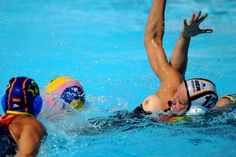 Accidental nudity sport olympic water polo